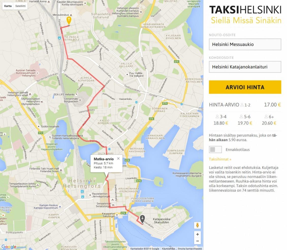TaksiHelsinki Hintalaskuri
